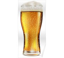 Beer glass with water drops Poster