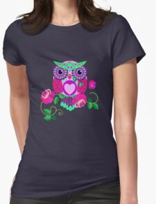 Cute Valentine's flower power Owl with roses Womens Fitted T-Shirt