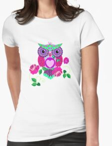 Cute Valentine's flower power Owl with roses T-Shirt