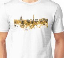 Washington DC skyline in orange watercolor on white background  Unisex T-Shirt