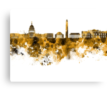 Washington DC skyline in orange watercolor on white background  Canvas Print