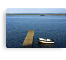 Little Boat By The Dock Canvas Print