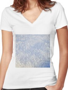 Winter snow texture 2 Women's Fitted V-Neck T-Shirt