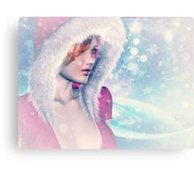 Woman in pink winter cloth 2 Canvas Print