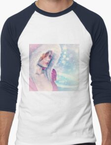 Woman in pink winter cloth 2 Men's Baseball ¾ T-Shirt