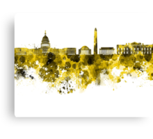 Washington DC skyline in yellowe watercolor on white background  Canvas Print