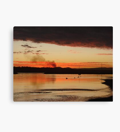 Raging Red Cane Fire Sunset Canvas Print