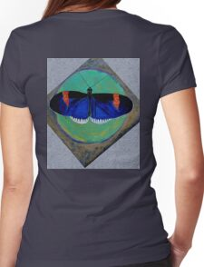 Spiral Butterfly V Womens Fitted T-Shirt