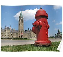 Fire Hydrant on the Parliament Hill in Ottawa Poster