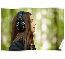 Girl listening music outdoor Poster