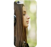 Girl listening music outdoor iPhone Case/Skin