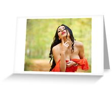 Sexy lady in red dress Greeting Card
