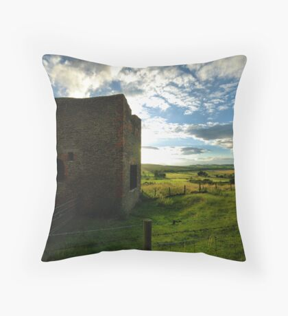 Old Mine Wheel House Throw Pillow