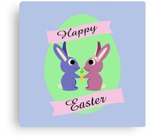 Happy Easter Cute Bunnies Canvas Print