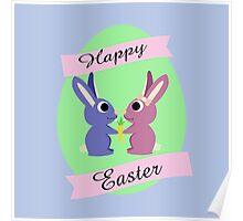 Happy Easter Cute Bunnies Poster