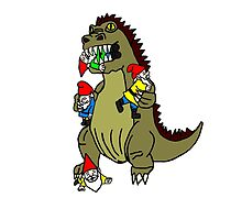 Godzilla Monster and Gnomes by imphavok