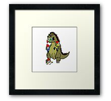 Godzilla Monster and Gnomes Framed Print