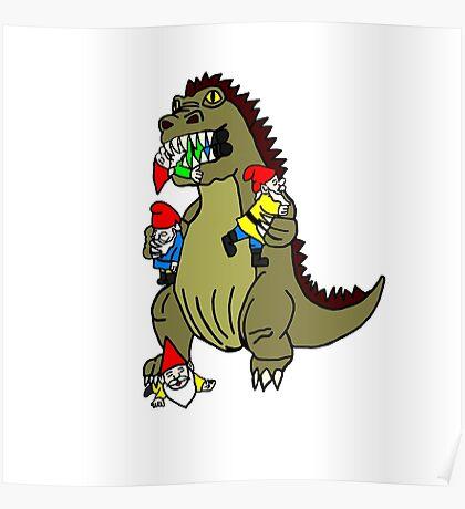 Godzilla Monster and Gnomes Poster