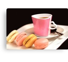 Macarons And Espresso in Love Canvas Print