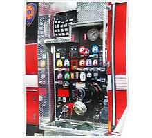 Firemen - Colorful Gauges on Fire Truck Poster