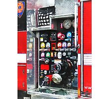 Firemen - Colorful Gauges on Fire Truck Photographic Print