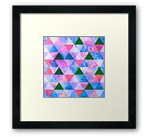 Modern Pink, Blue & Green Geometric Design Framed Print