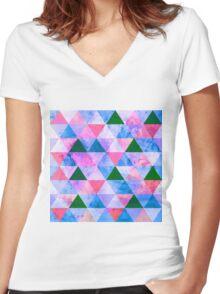 Modern Pink, Blue & Green Geometric Design Women's Fitted V-Neck T-Shirt