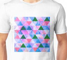 Modern Pink, Blue & Green Geometric Design Unisex T-Shirt