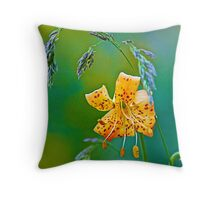 Leopard Lily and Grasses Throw Pillow