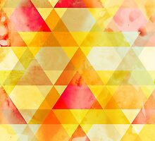 Fab Yellow & Red Triangle Geometric Design by Groovyfinds