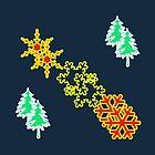 Winter is coming pattern on navy blue by JoAnnFineArt