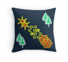 Winter is coming pattern on navy blue Throw Pillow