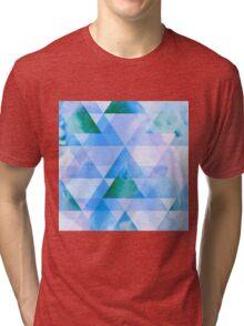 Blue & Purple Triangle Geometric Design Tri-blend T-Shirt