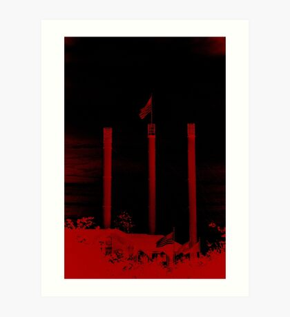 Bend Oregon in Black and Red (USA flag) Art Print