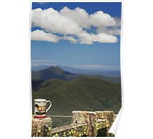 The Aries Woman drinks Tea on the Mountain Top Poster