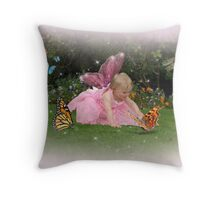 Holly meets a butterfly Throw Pillow