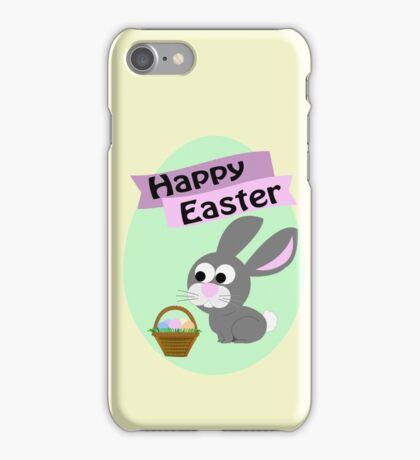 Happy Easter Gray Bunny iPhone Case/Skin