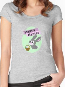 Happy Easter Gray Bunny Women's Fitted Scoop T-Shirt