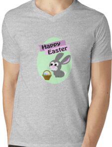 Happy Easter Gray Bunny Mens V-Neck T-Shirt