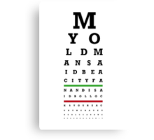 Eye Chart - Aston Villa FC - My Old Man Said Canvas Print