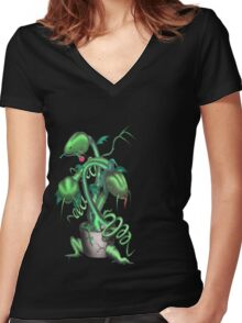 Shop of Horrors Women's Fitted V-Neck T-Shirt