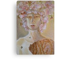 Rosewoman - Portrait In Crayon With Thorns For Teeth Canvas Print