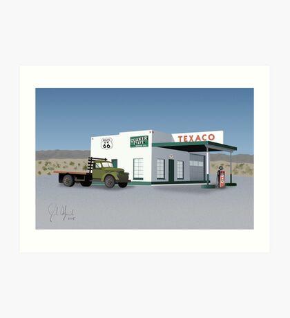 Route 66 Texaco Station Illustration Art Print