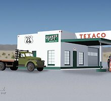Route 66 Texaco Station Illustration by JohnOdz