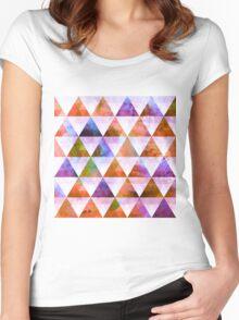 Modern Purple & Orange Geometric Triangle Design Women's Fitted Scoop T-Shirt