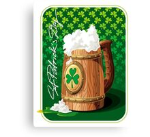 Wooden beer mug with foam and clover  Canvas Print