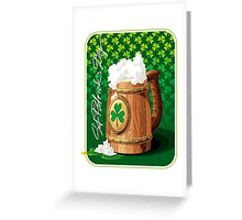 Wooden beer mug with foam and clover  Greeting Card