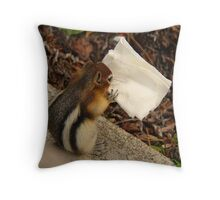 Chipmunk Eating Napkin Throw Pillow