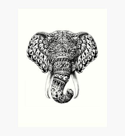 Ornate Elephant Head Art Print