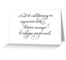 Motivational quote Silence handwritten calligraphy art  Greeting Card